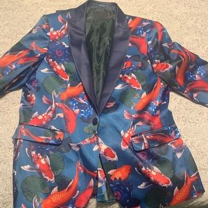Skinny tuxedo suit jacket in fish print